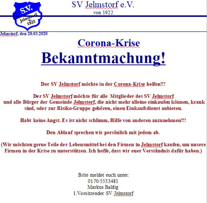SVJ will in Corona-Krise mit Einkaufsdienst helfen